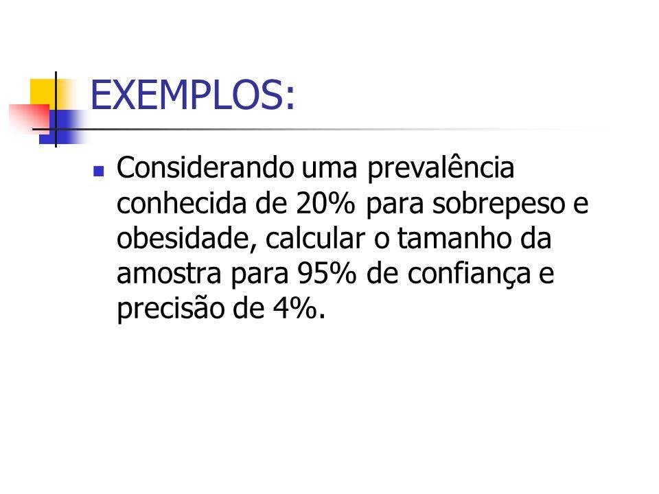 EXEMPLOS: Considerando uma prevalência conhecida de 20% para sobrepeso e obesidade, calcular o tamanho da amostra para 95% de confiança e precisão de