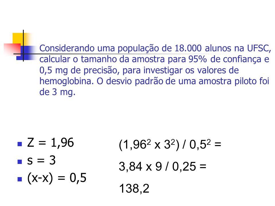 Z = 1,96 s = 3 (x-x) = 0,5 (1,96 2 x 3 2 ) / 0,5 2 = 3,84 x 9 / 0,25 = 138,2