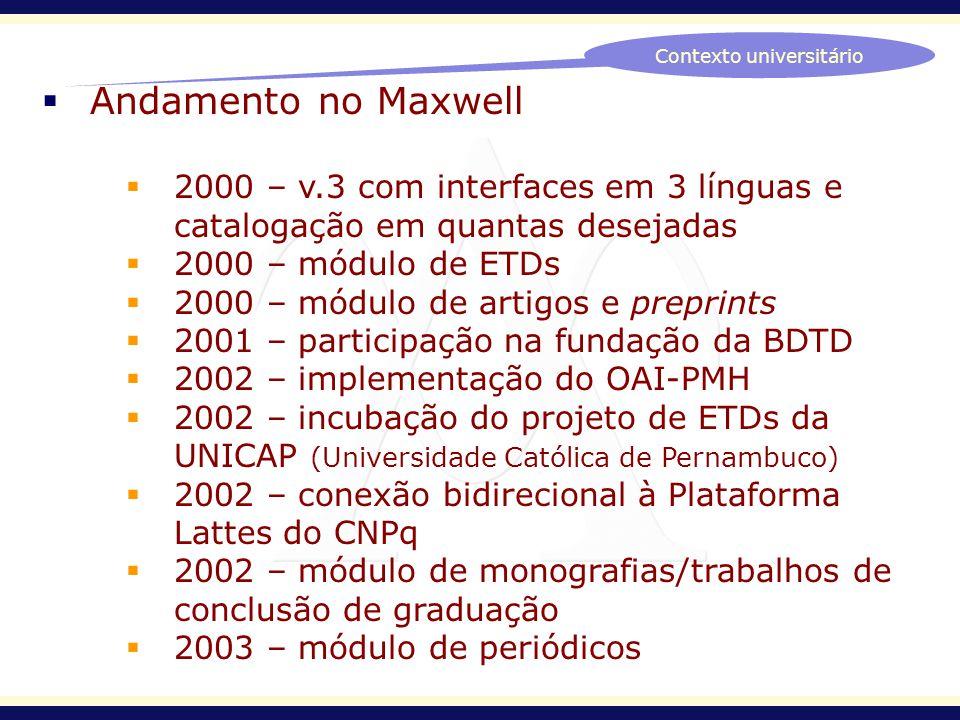 Andamento no Maxwell 2000 – v.3 com interfaces em 3 línguas e catalogação em quantas desejadas 2000 – módulo de ETDs 2000 – módulo de artigos e prepri