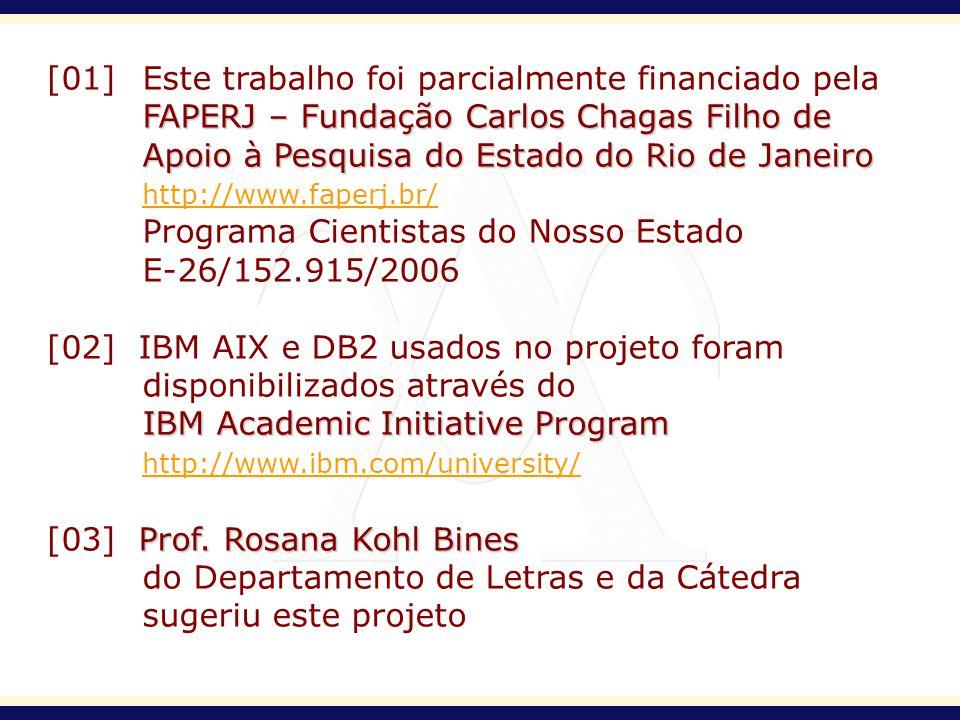 [01] Este trabalho foi parcialmente financiado pela FAPERJ – Fundação Carlos Chagas Filho de Apoio à Pesquisa do Estado do Rio de Janeiro http://www.f