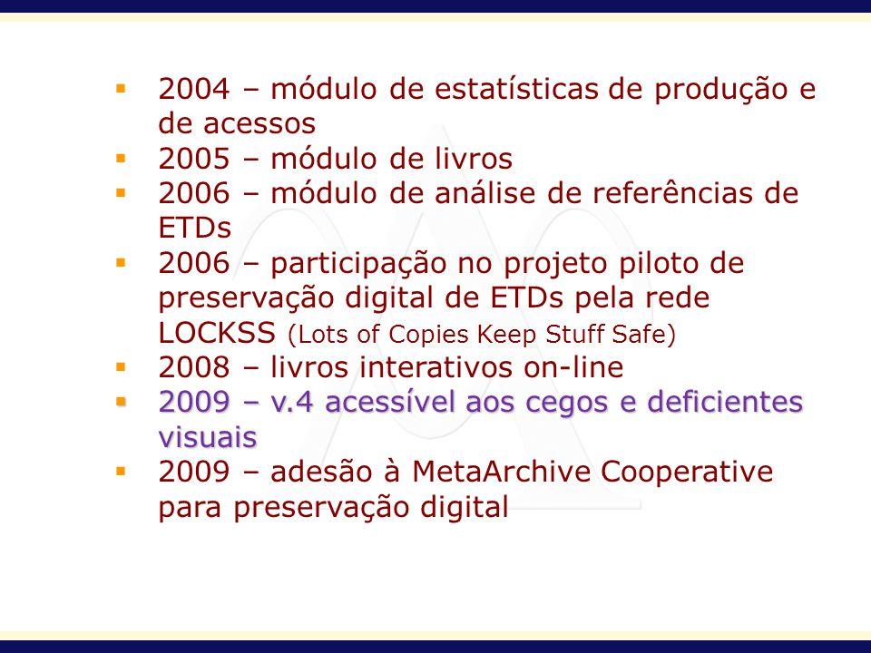 2004 – módulo de estatísticas de produção e de acessos 2005 – módulo de livros 2006 – módulo de análise de referências de ETDs 2006 – participação no