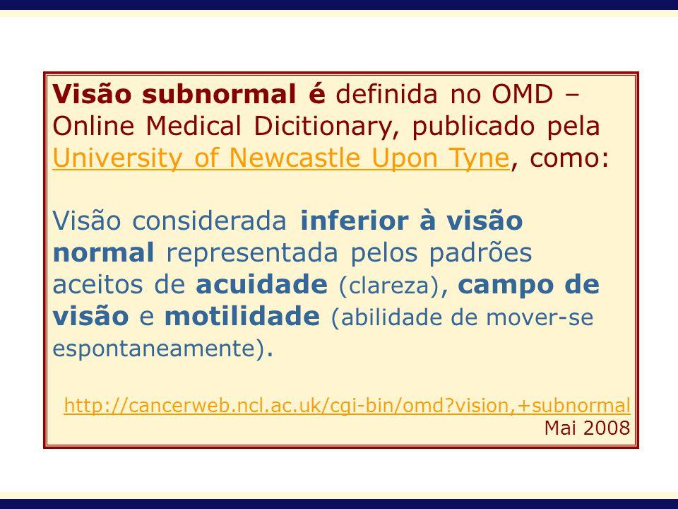 Visão subnormal é definida no OMD – Online Medical Dicitionary, publicado pela University of Newcastle Upon Tyne, como: University of Newcastle Upon T