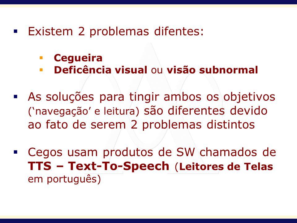 Existem 2 problemas difentes: Cegueira Deficência visual ou visão subnormal As soluções para tingir ambos os objetivos (navegação e leitura) são difer