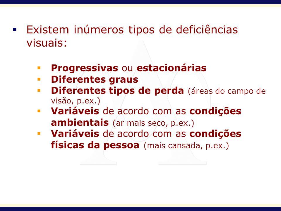 Existem inúmeros tipos de deficiências visuais: Progressivas ou estacionárias Diferentes graus Diferentes tipos de perda (áreas do campo de visão, p.e