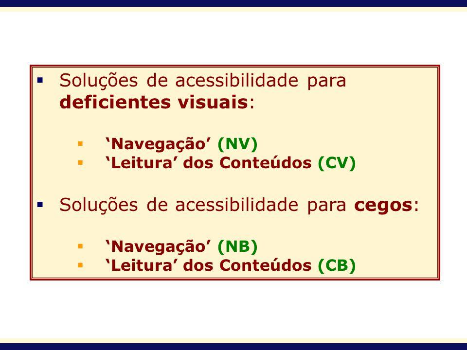 Soluções de acessibilidade para deficientes visuais: Navegação (NV) Leitura dos Conteúdos (CV) Soluções de acessibilidade para cegos: Navegação (NB) L