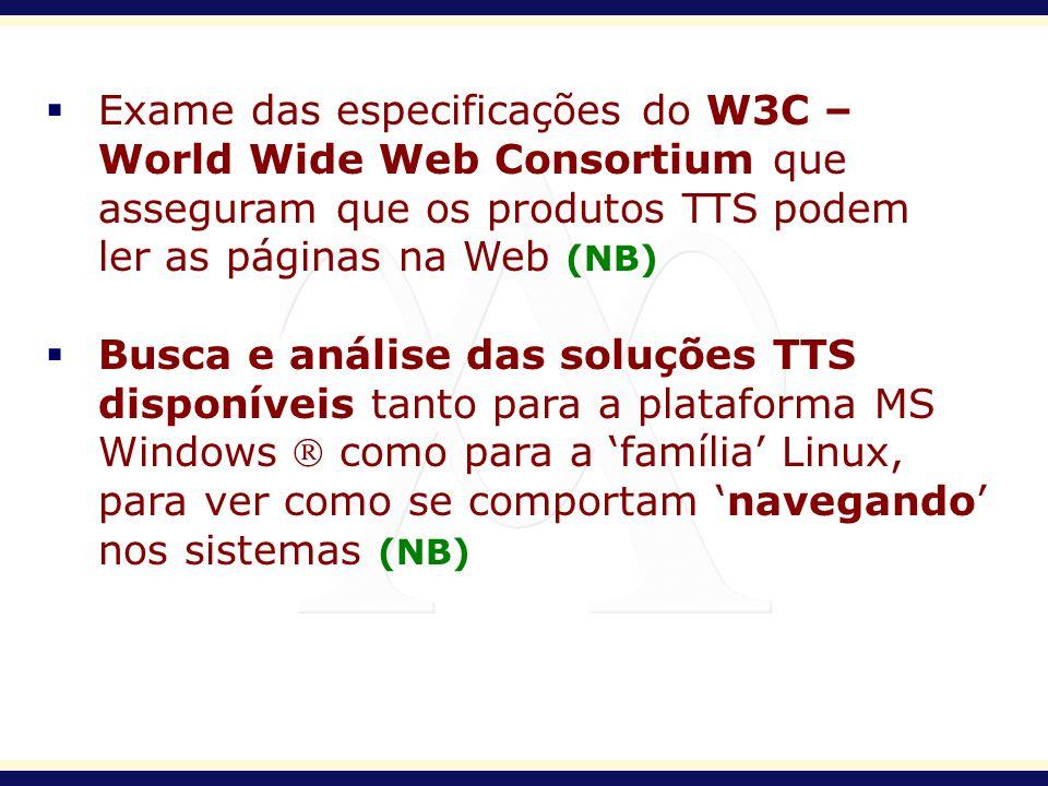 Exame das especificações do W3C – World Wide Web Consortium que asseguram que os produtos TTS podem ler as páginas na Web (NB) Busca e análise das sol
