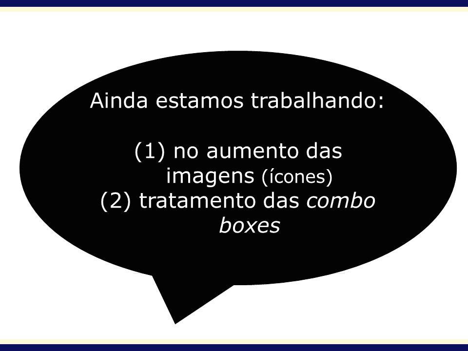 Ainda estamos trabalhando: (1) no aumento das imagens (ícones) (2) tratamento das combo boxes