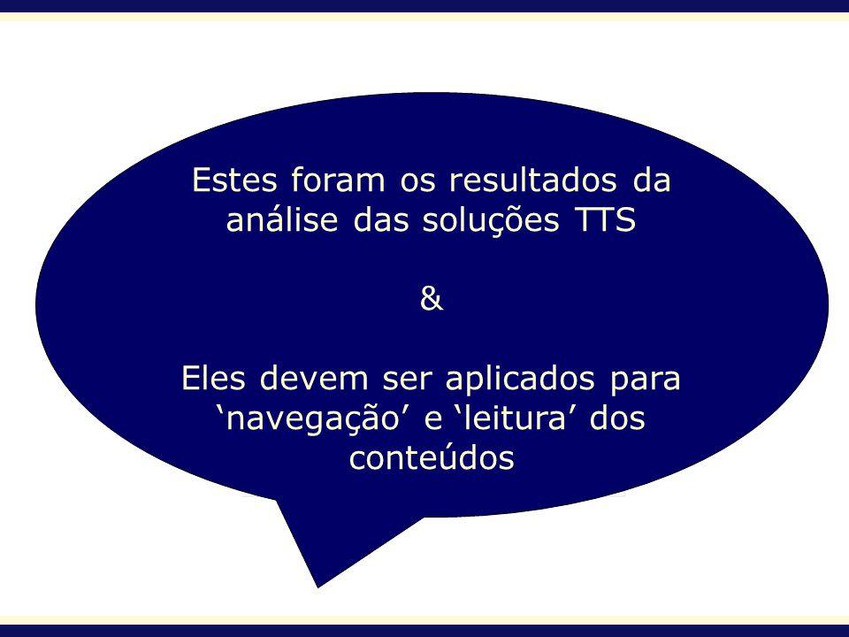 Estes foram os resultados da análise das soluções TTS & Eles devem ser aplicados para navegação e leitura dos conteúdos