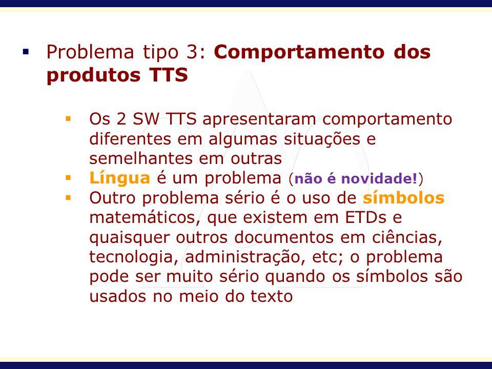 Problema tipo 3: Comportamento dos produtos TTS Os 2 SW TTS apresentaram comportamento diferentes em algumas situações e semelhantes em outras Língua