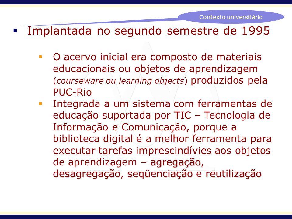Implantada no segundo semestre de 1995 O acervo inicial era composto de materiais educacionais ou objetos de aprendizagem (courseware ou learning obje