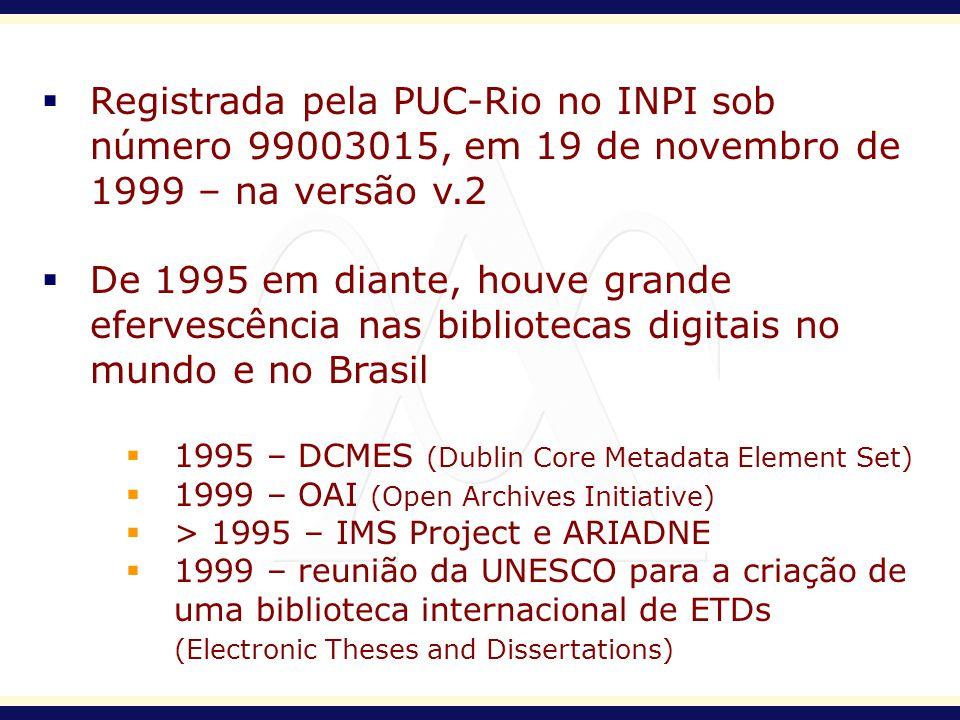 2001 – BDTD (Biblioteca Digital de Teses e Dissertações) e MTD-BR (Padrão Brasileiro de Metadados de Teses e Dissertações) 2001 – OAI-PMH (Open Archives Initiative Protocol for Metadata Harvesting) 2002 – BDTD implementa o OAI-PMH 2003 – DCMES se torna ISO 15386/2003 2005 – MTD2-BR 2006 – BDTD implementa nova versão do OAI-PMH