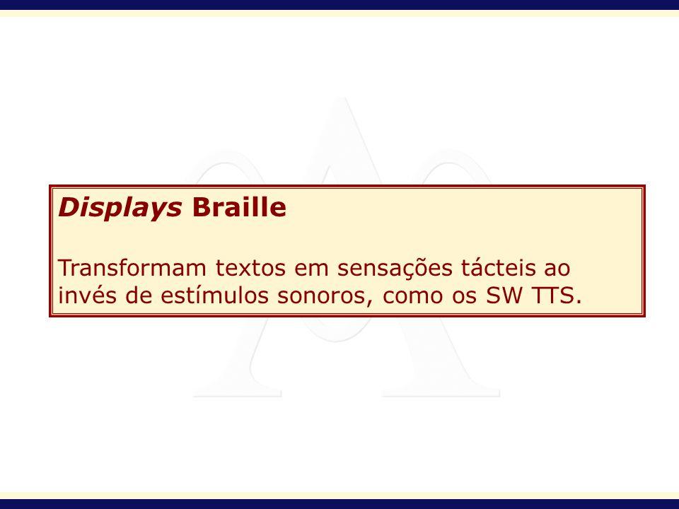 Displays Braille Transformam textos em sensações tácteis ao invés de estímulos sonoros, como os SW TTS.
