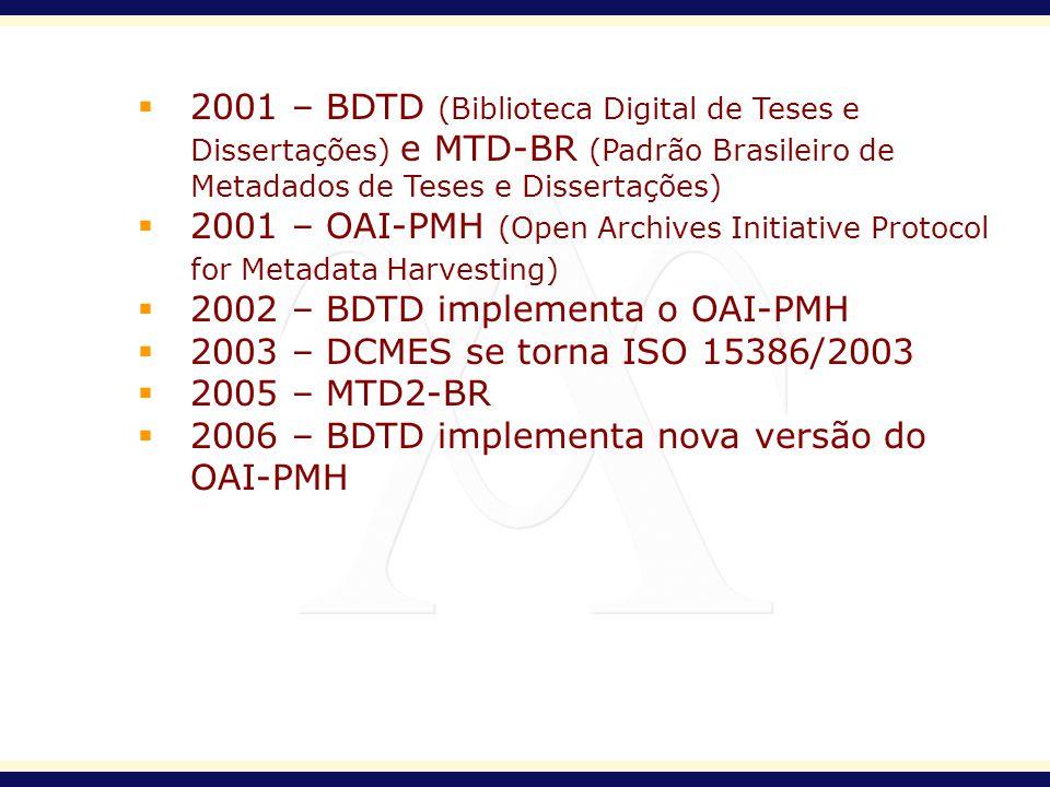 2001 – BDTD (Biblioteca Digital de Teses e Dissertações) e MTD-BR (Padrão Brasileiro de Metadados de Teses e Dissertações) 2001 – OAI-PMH (Open Archiv