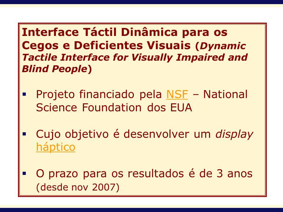 Interface Táctil Dinâmica para os Cegos e Deficientes Visuais (Dynamic Tactile Interface for Visually Impaired and Blind People) Projeto financiado pe