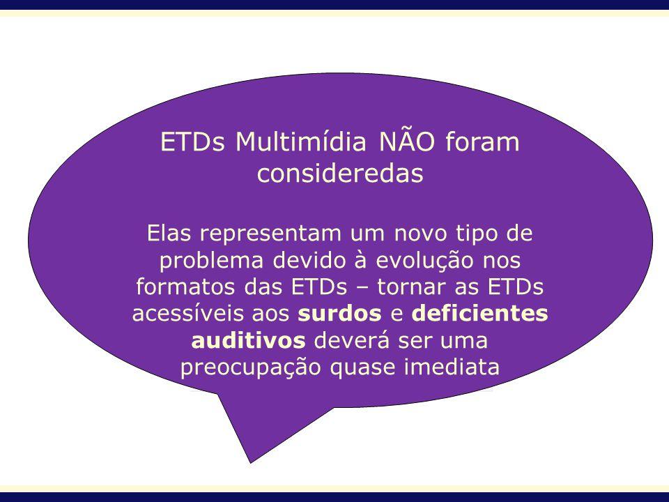 ETDs Multimídia NÃO foram consideredas Elas representam um novo tipo de problema devido à evolução nos formatos das ETDs – tornar as ETDs acessíveis a