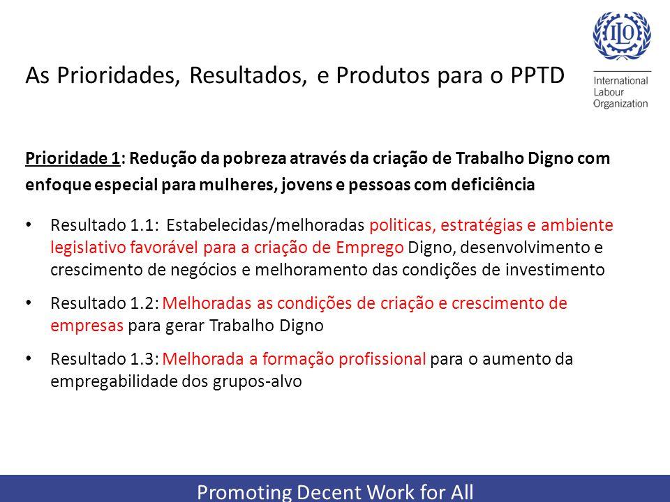 Promoting Decent Work for All As Prioridades, Resultados, e Produtos para o PPTD Prioridade 1: Redução da pobreza através da criação de Trabalho Digno