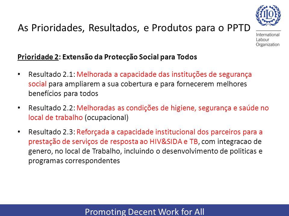 Promoting Decent Work for All As Prioridades, Resultados, e Produtos para o PPTD Prioridade 2: Extensão da Protecção Social para Todos Resultado 2.1: