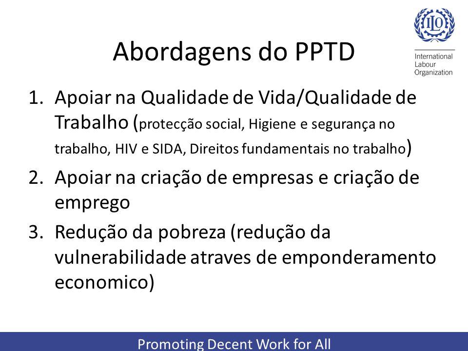 Promoting Decent Work for All Abordagens do PPTD 1.Apoiar na Qualidade de Vida/Qualidade de Trabalho ( protecção social, Higiene e segurança no trabal