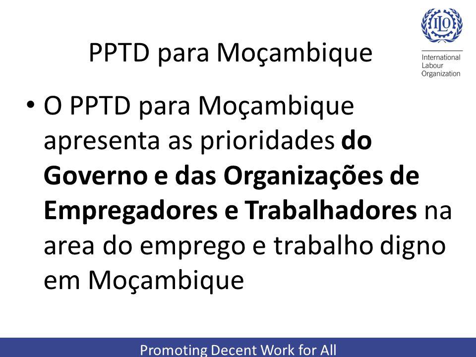 Promoting Decent Work for All PPTD para Moçambique O PPTD para Moçambique apresenta as prioridades do Governo e das Organizações de Empregadores e Tra
