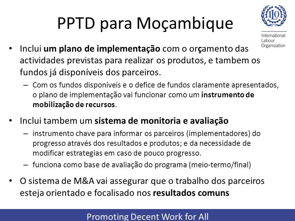 Promoting Decent Work for All PPTD para Moçambique Inclui um plano de implementação com o orçamento das actividades previstas para realizar os produto