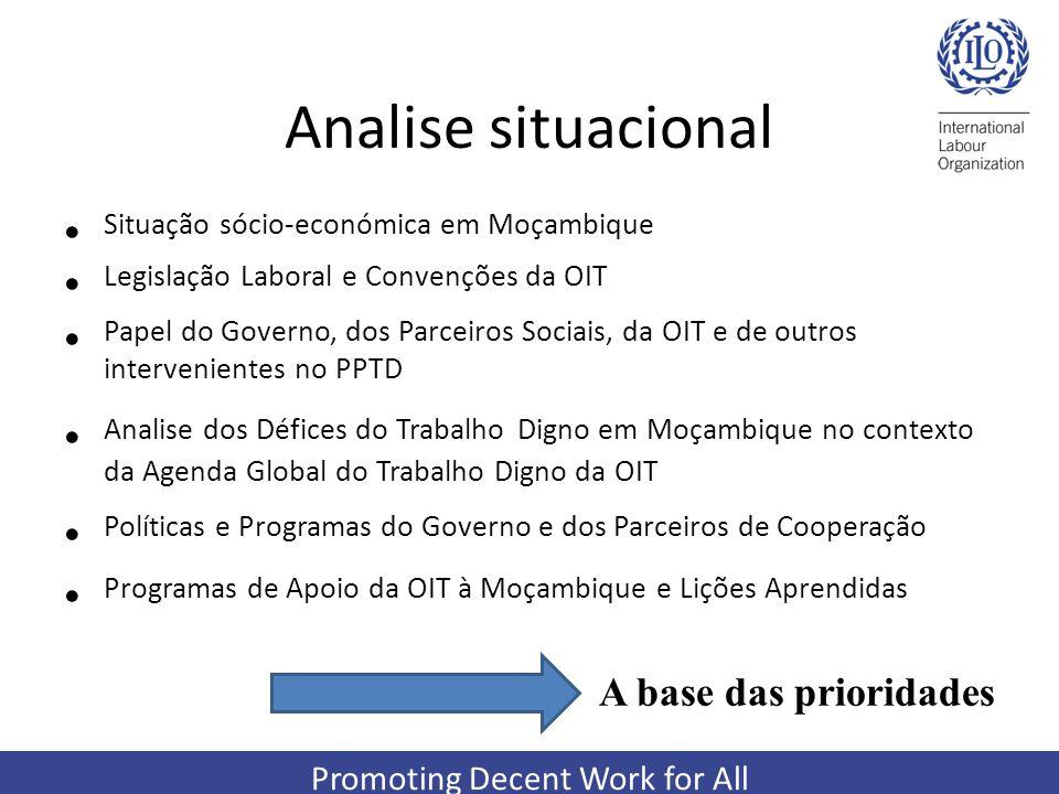 Promoting Decent Work for All Analise situacional Situação sócio-económica em Moçambique Legislação Laboral e Convenções da OIT Papel do Governo, dos