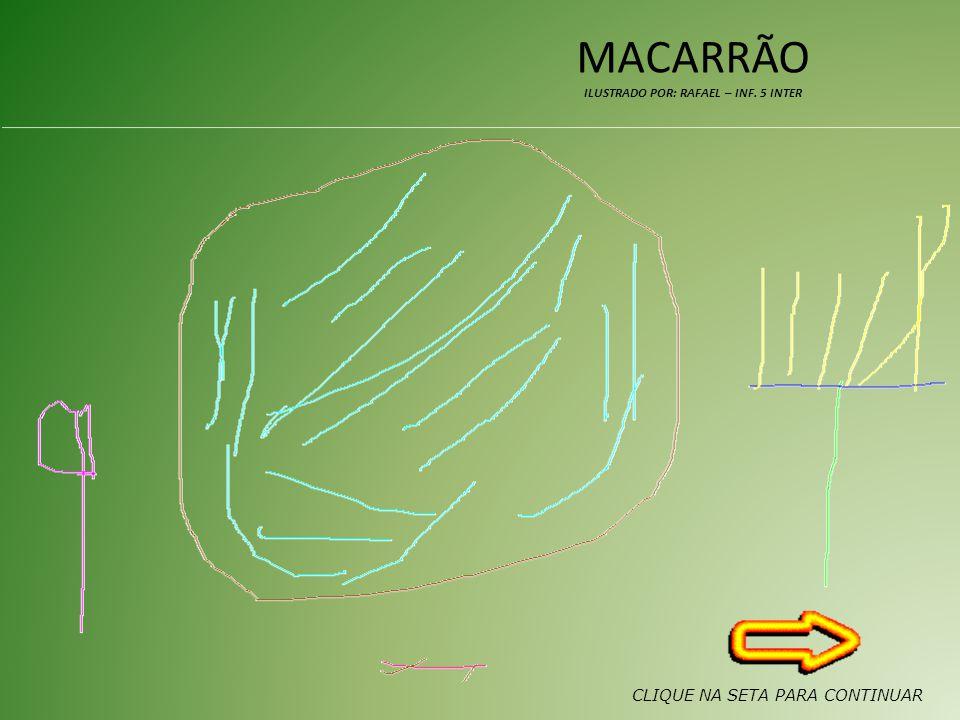 MACARRÃO ILUSTRADO POR: RAFAEL – INF. 5 INTER CLIQUE NA SETA PARA CONTINUAR