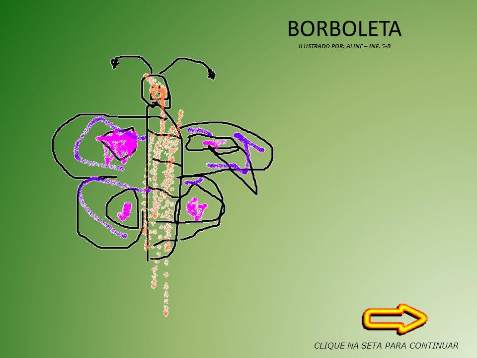 BORBOLETA ILUSTRADO POR: ALINE – INF. 5-B CLIQUE NA SETA PARA CONTINUAR