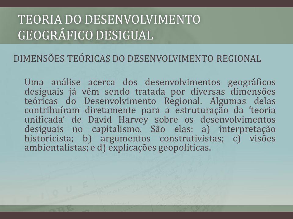 TEORIA DO DESENVOLVIMENTO GEOGRÁFICO DESIGUAL DIMENSÕES TEÓRICAS DO DESENVOLVIMENTO REGIONAL Uma análise acerca dos desenvolvimentos geográficos desig
