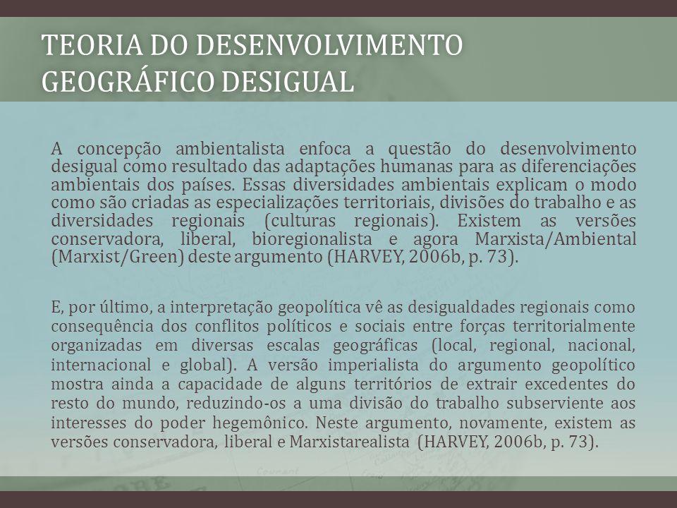 TEORIA DO DESENVOLVIMENTO GEOGRÁFICO DESIGUAL A concepção ambientalista enfoca a questão do desenvolvimento desigual como resultado das adaptações hum