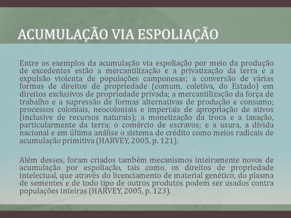 ACUMULAÇÃO VIA ESPOLIAÇÃO Entre os exemplos da acumulação via espoliação por meio da produção de excedentes estão a mercantilização e a privatização d