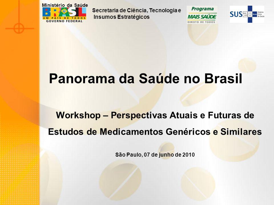 Secretaria de Ciência, Tecnologia e Insumos Estratégicos Ministério da Saúde Panorama da Saúde no Brasil Workshop – Perspectivas Atuais e Futuras de E