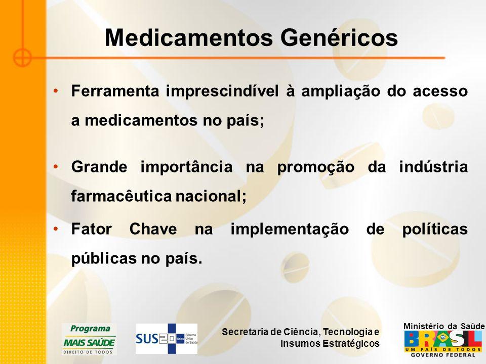 Secretaria de Ciência, Tecnologia e Insumos Estratégicos Ministério da Saúde Medicamentos Genéricos Ferramenta imprescindível à ampliação do acesso a