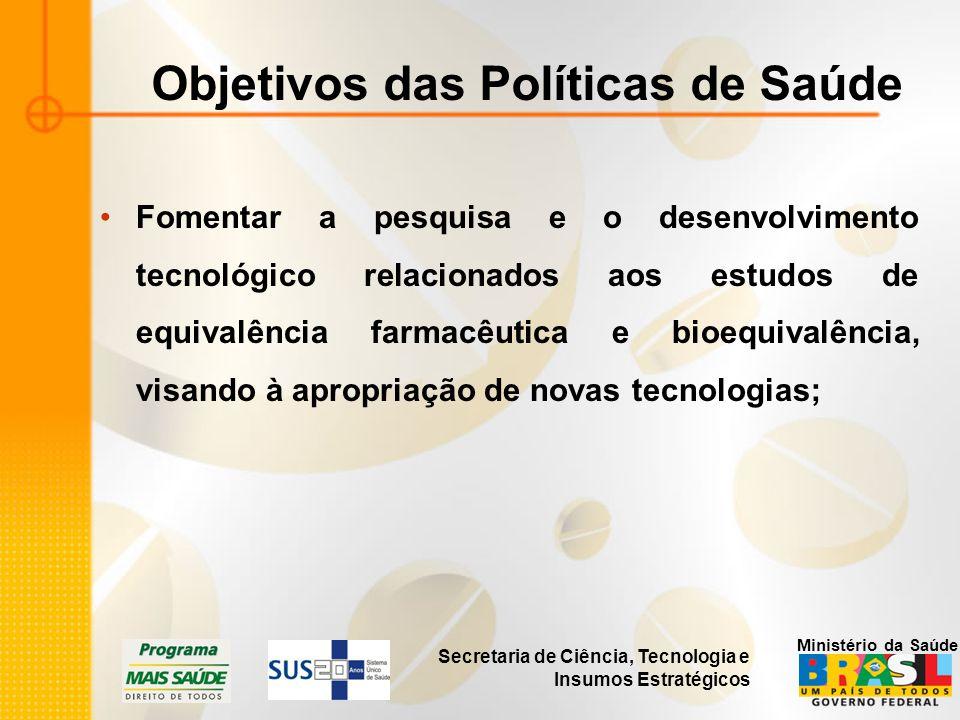 Secretaria de Ciência, Tecnologia e Insumos Estratégicos Ministério da Saúde Objetivos das Políticas de Saúde Fomentar a pesquisa e o desenvolvimento