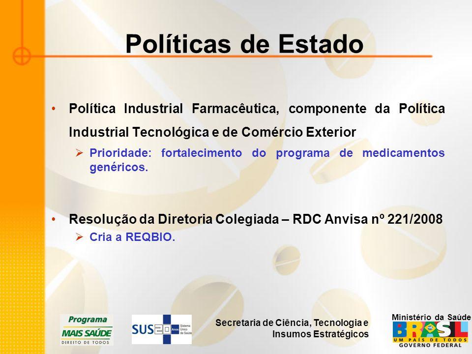 Secretaria de Ciência, Tecnologia e Insumos Estratégicos Ministério da Saúde Políticas de Estado Política Industrial Farmacêutica, componente da Polít