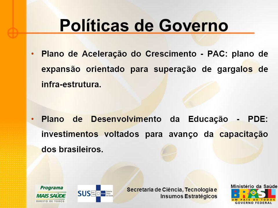 Secretaria de Ciência, Tecnologia e Insumos Estratégicos Ministério da Saúde Políticas de Governo Plano de Aceleração do Crescimento - PAC: plano de e