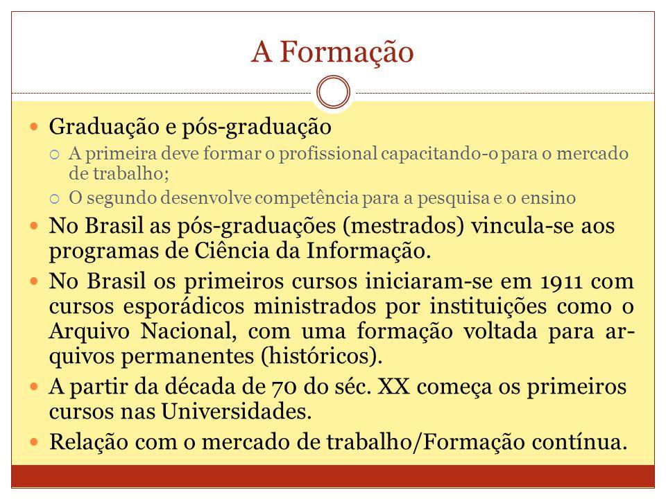 A Formação Graduação e pós-graduação A primeira deve formar o profissional capacitando-o para o mercado de trabalho; O segundo desenvolve competência