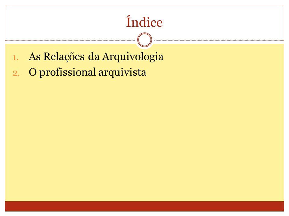 Índice 1. As Relações da Arquivologia 2. O profissional arquivista