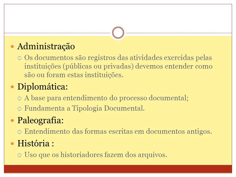 Administração Os documentos são registros das atividades exercidas pelas instituições (públicas ou privadas) devemos entender como são ou foram estas