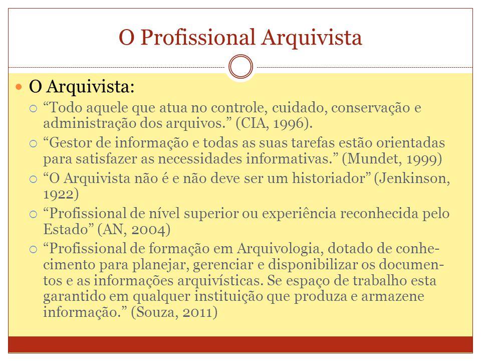 O Profissional Arquivista O Arquivista: Todo aquele que atua no controle, cuidado, conservação e administração dos arquivos. (CIA, 1996). Gestor de in