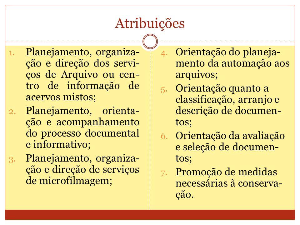 Atribuições 1. Planejamento, organiza- ção e direção dos servi- ços de Arquivo ou cen- tro de informação de acervos mistos; 2. Planejamento, orienta-