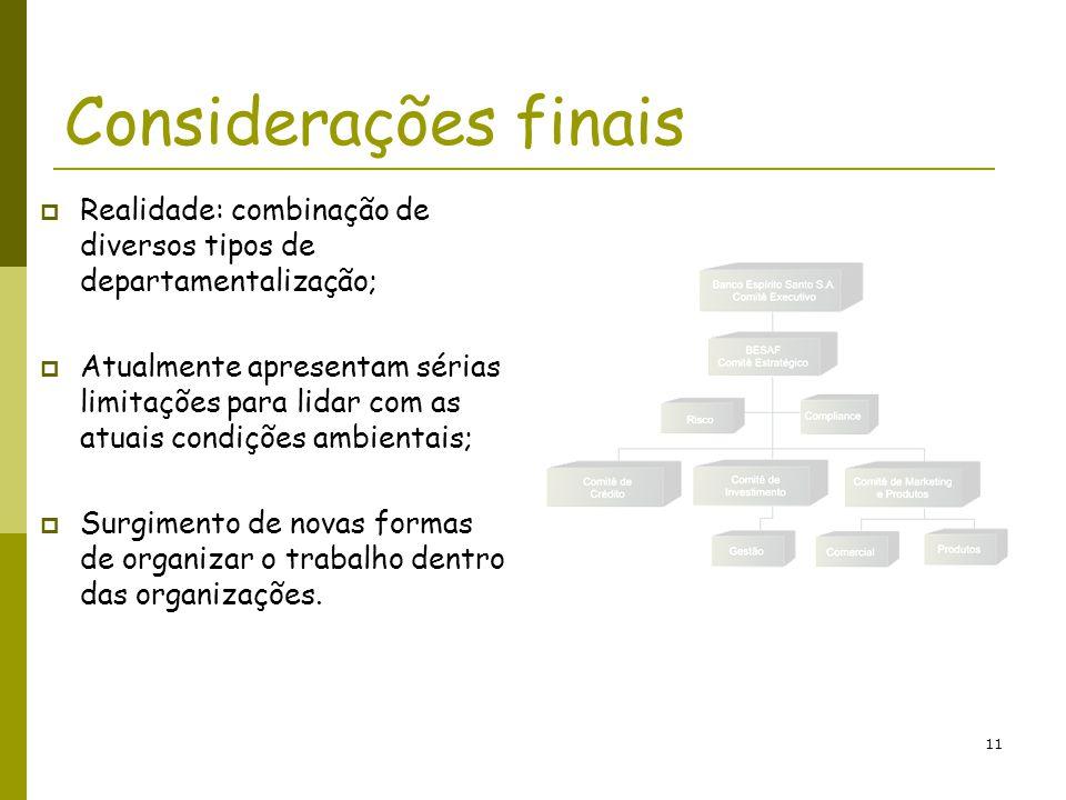 11 Considerações finais Realidade: combinação de diversos tipos de departamentalização; Atualmente apresentam sérias limitações para lidar com as atua