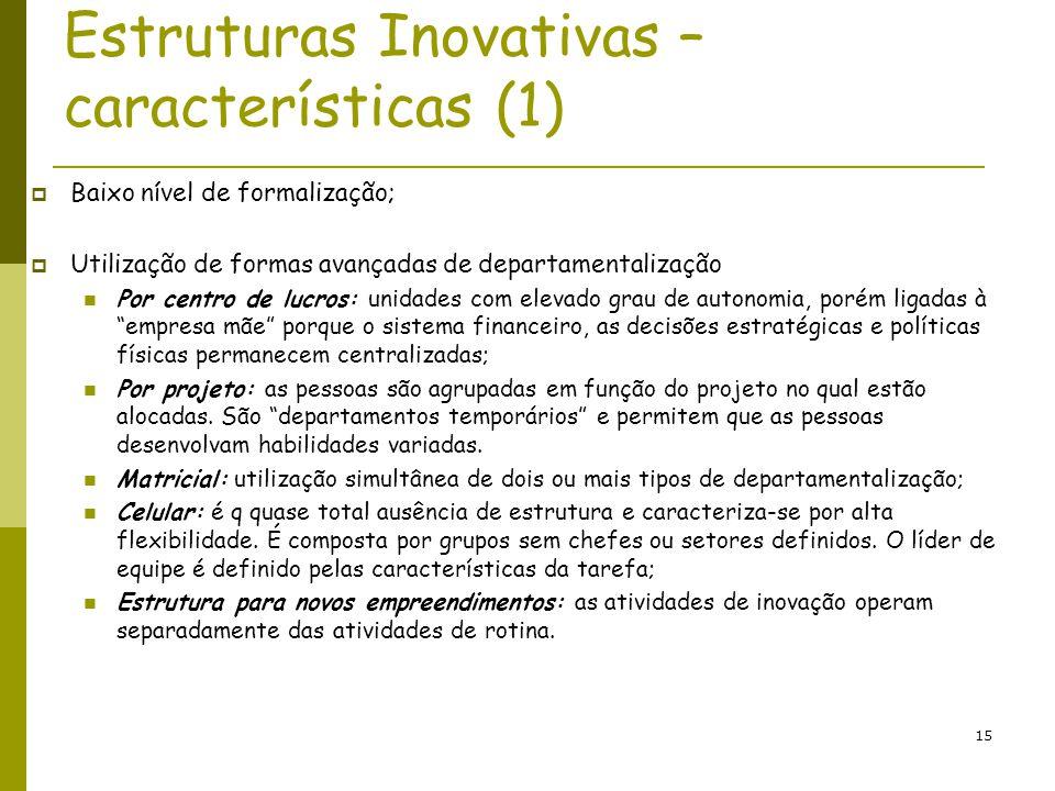 15 Estruturas Inovativas – características (1) Baixo nível de formalização; Utilização de formas avançadas de departamentalização Por centro de lucros