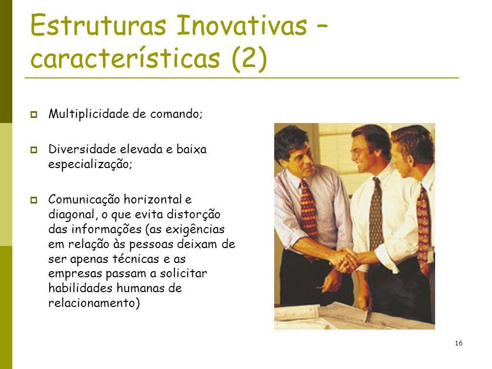 16 Estruturas Inovativas – características (2) Multiplicidade de comando; Diversidade elevada e baixa especialização; Comunicação horizontal e diagona