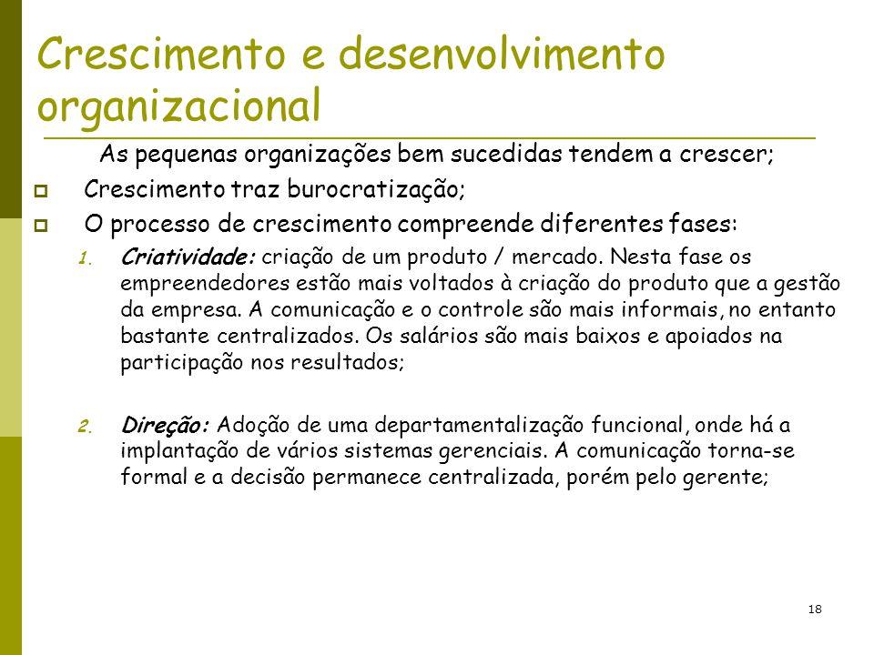 18 Crescimento e desenvolvimento organizacional As pequenas organizações bem sucedidas tendem a crescer; Crescimento traz burocratização; O processo d