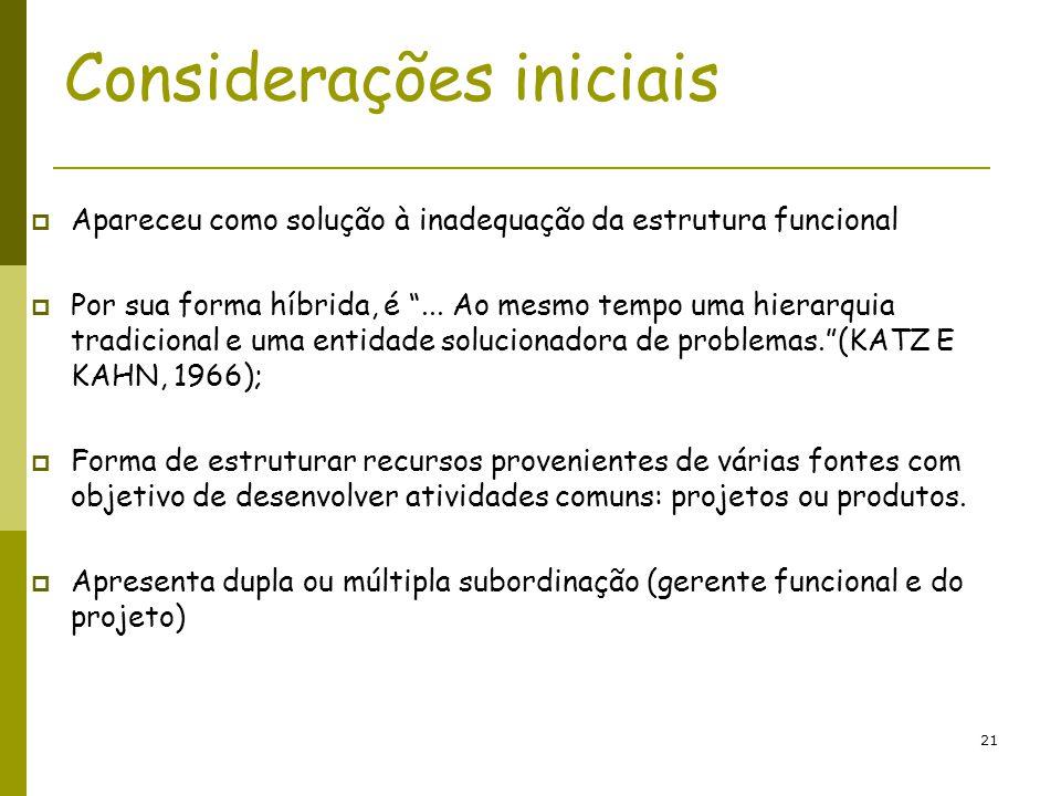21 Considerações iniciais Apareceu como solução à inadequação da estrutura funcional Por sua forma híbrida, é... Ao mesmo tempo uma hierarquia tradici