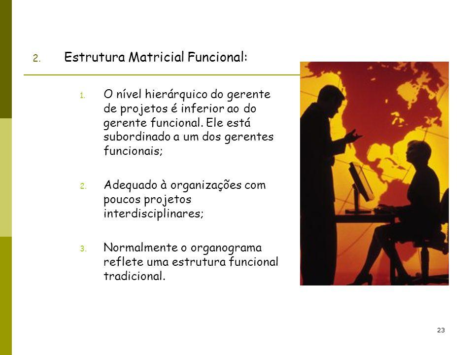 23 2. Estrutura Matricial Funcional: 1. O nível hierárquico do gerente de projetos é inferior ao do gerente funcional. Ele está subordinado a um dos g