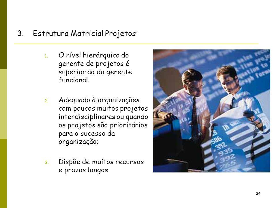 24 3. Estrutura Matricial Projetos: 1. O nível hierárquico do gerente de projetos é superior ao do gerente funcional. 2. Adequado à organizações com p