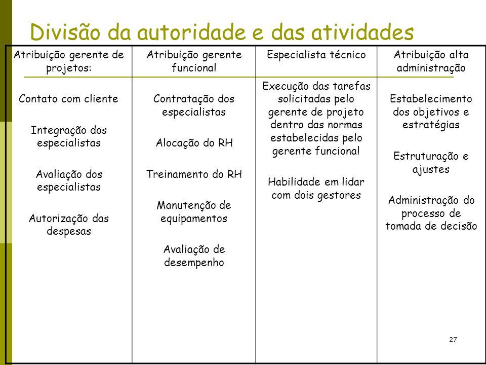 27 Divisão da autoridade e das atividades Atribuição gerente de projetos: Contato com cliente Integração dos especialistas Avaliação dos especialistas