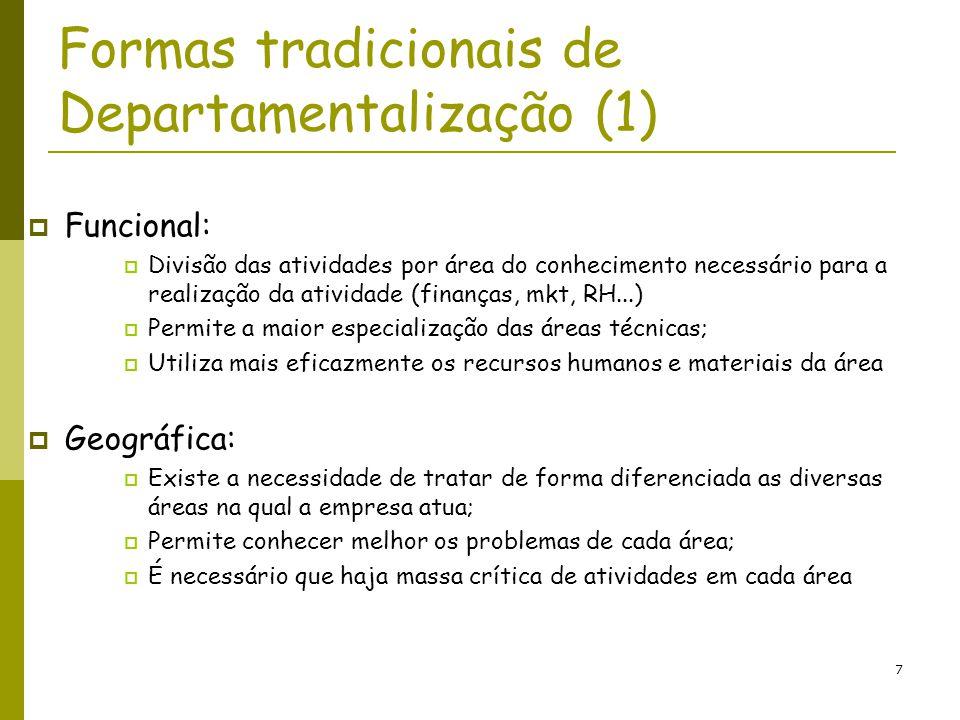 8 Formas tradicionais de Departamentalização (2) Por processo: Divisão das atividades conforme as fases do processo (fundição, usinagem, montagem, pintura...) Muito comum no setor de produção Leva a um alto nível de especialização em cada uma das áreas.