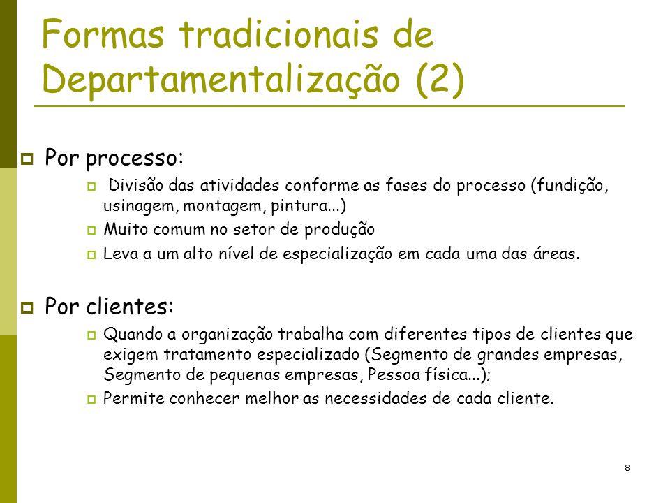 8 Formas tradicionais de Departamentalização (2) Por processo: Divisão das atividades conforme as fases do processo (fundição, usinagem, montagem, pin